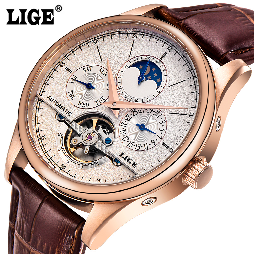 LIGE Top Brand Luxury Men's Automatic Mechanical Watch Men Fashion Clock Leather Business Male Sports Watches Relogio Masculino men watch top luxury brand lige men s mechanical watches business fashion casual waterproof stainless steel military male clock