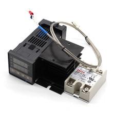 Contrôleur de température numérique PID, thermostat REX C100 + relais SSR 40DA + Thermocouple K, sonde de 1m pour RKC