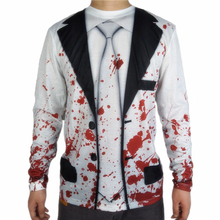 Scary Bloody Vampire Costume for Men Horror Unique Canival Long Sleeve Halloween Costumes T Shirt Plus Size