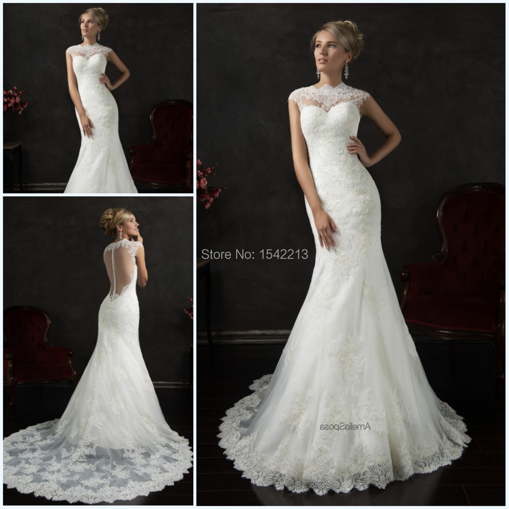 Mermaid Style Lace Wedding Gowns: Fast Shipping Lace Wedding Dresses Mermaid Style Long