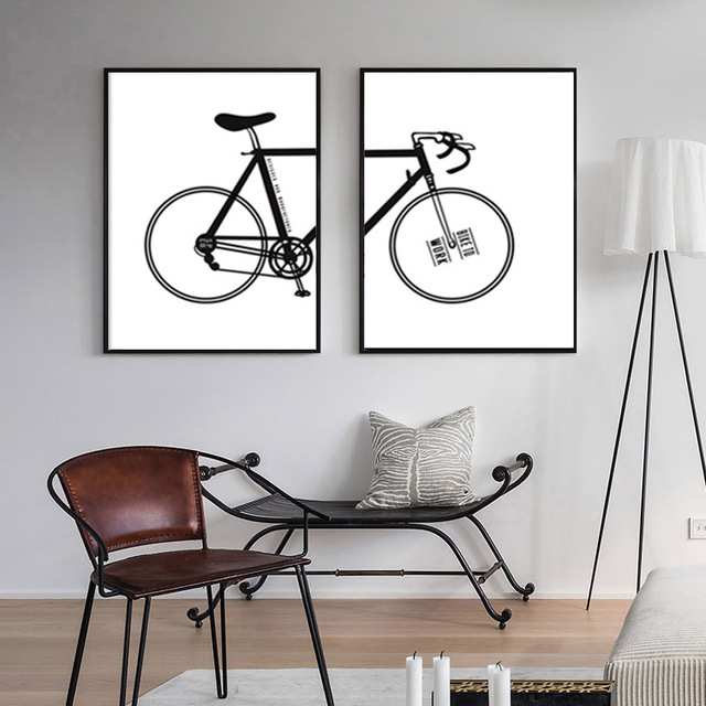 Nordic Decoration Black Bike Posters And Prints Poster Wall Art Canvas  Painting Bicycle Wall Pictures For