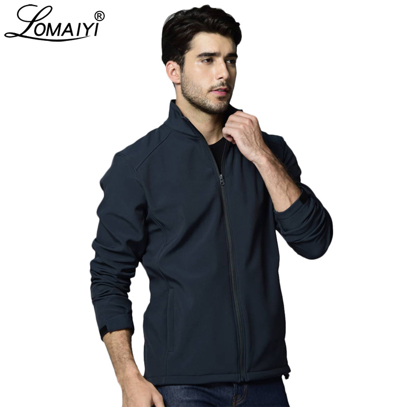 LOMAIYI 2019 Men's SpringAutumn Jacket Men Fleece Softshell Coat Mens Windbreaker Jackets Black Casual Jacket For Man AM345