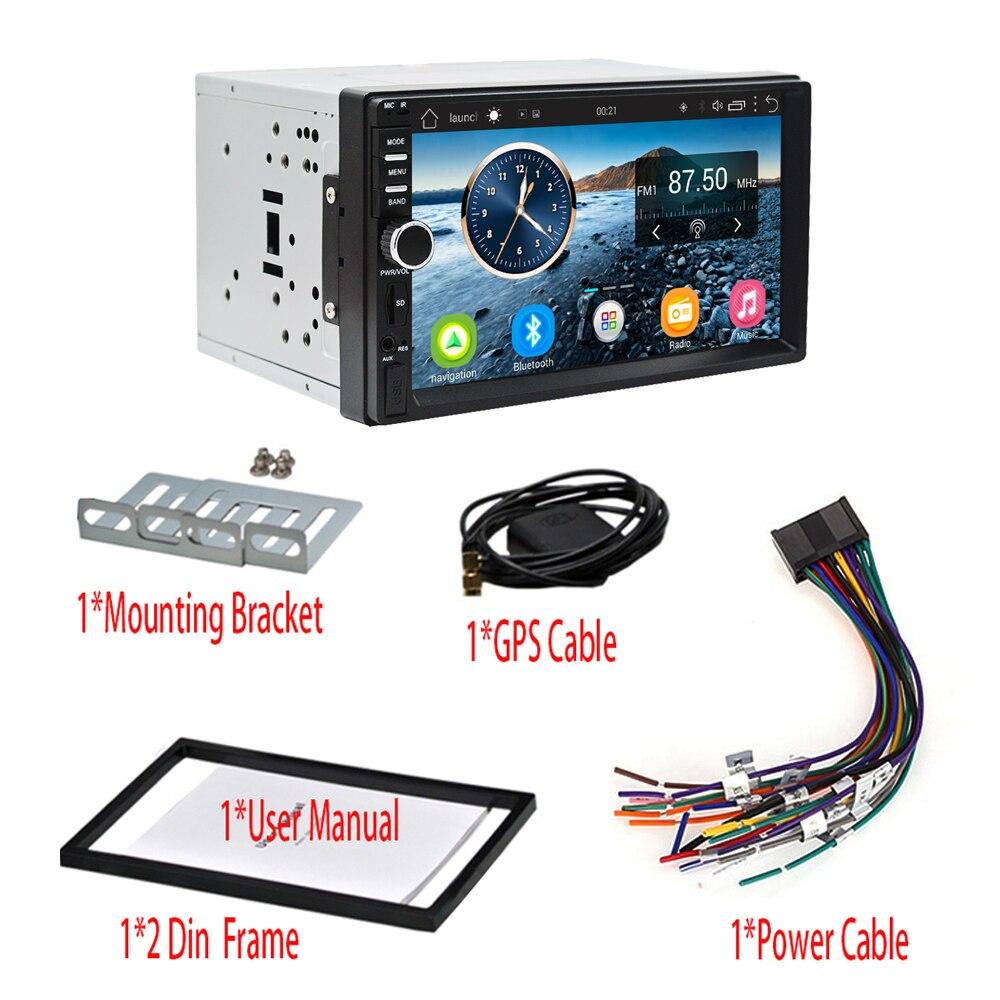 2Din voiture stéréo GPS 2G + 32G voiture lecteur multimédia Android Bluetooth musique Audio vidéo WiFi 7 pouces écran tactile SD USB ISO cam mic - 6