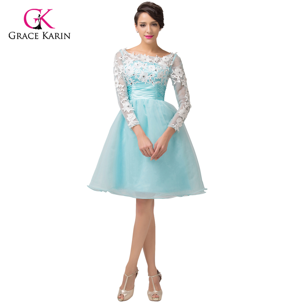 2017 Prom Dress Grace Karin Pale Turquoise Blue Lace Long Sleeves ...