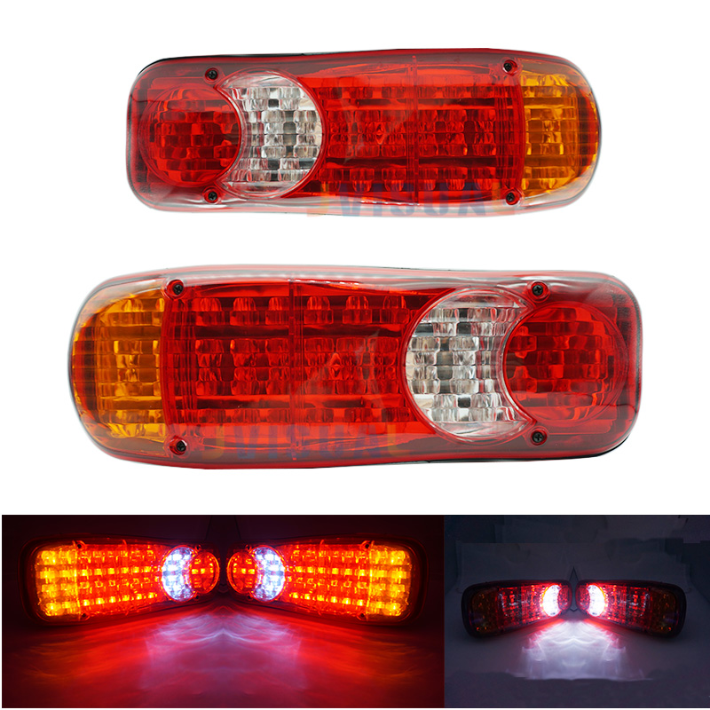 2 PCS Waterproof 12V 24 Truck LED Tail Light Rear Lamp Stop Reverse Safety Indicator Fog Lights for Trailer Truck Car Taillights eonstime 2pcs 12v 16 led red white truck trailer boat stop turn tail light reverse light lamp waterproof