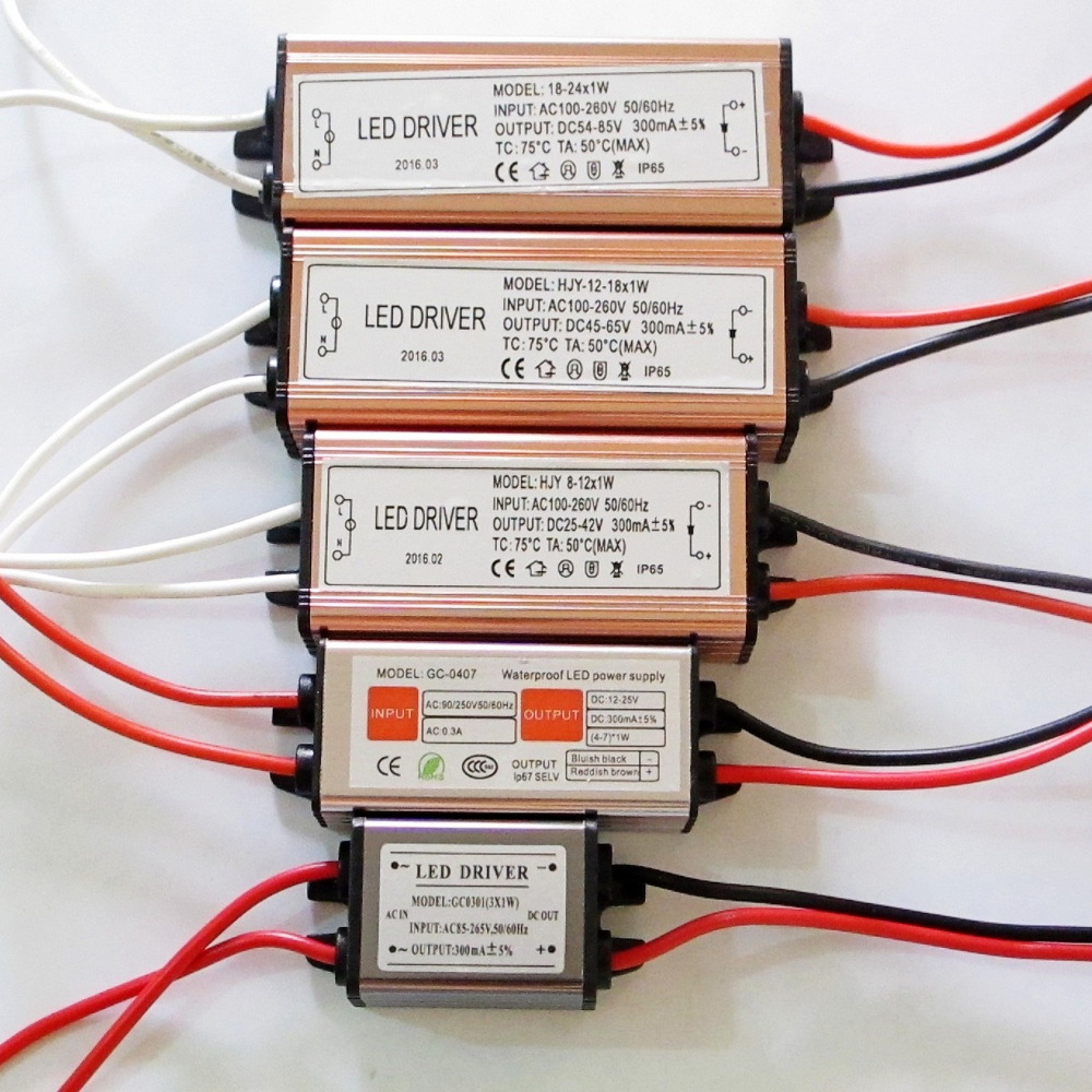 3W-24W 300mA Constant Current <font><b>LED</b></font> <font><b>Driver</b></font> 3W 4W 5W 7W 9W <font><b>12W</b></font> 15W 18W 21W 24W <font><b>Led</b></font> Power Supply for <font><b>Led</b></font> lights Waterproof IP65 image
