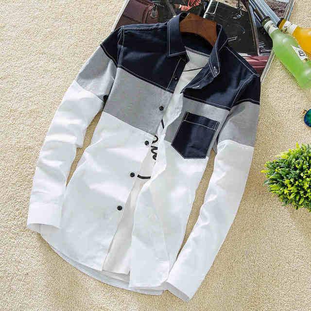 2018 Spring New Casual Contrast Color Denim Shirt Men Long Sleeve Slim Fit Good Quality Camiseta Manga Larga Algodon Hombre