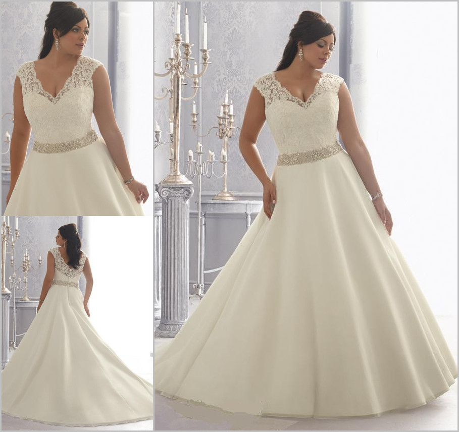Wedding Gowns With Cap Sleeves: Plus Size Wedding Dresses 2015 Beading Lace Cap Sleeve