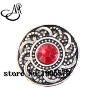 12pcs/lot Red Crystal Flower 18mm snap buttons fit DIY snaps bracelets necklaces jewelry wholesale SB1348