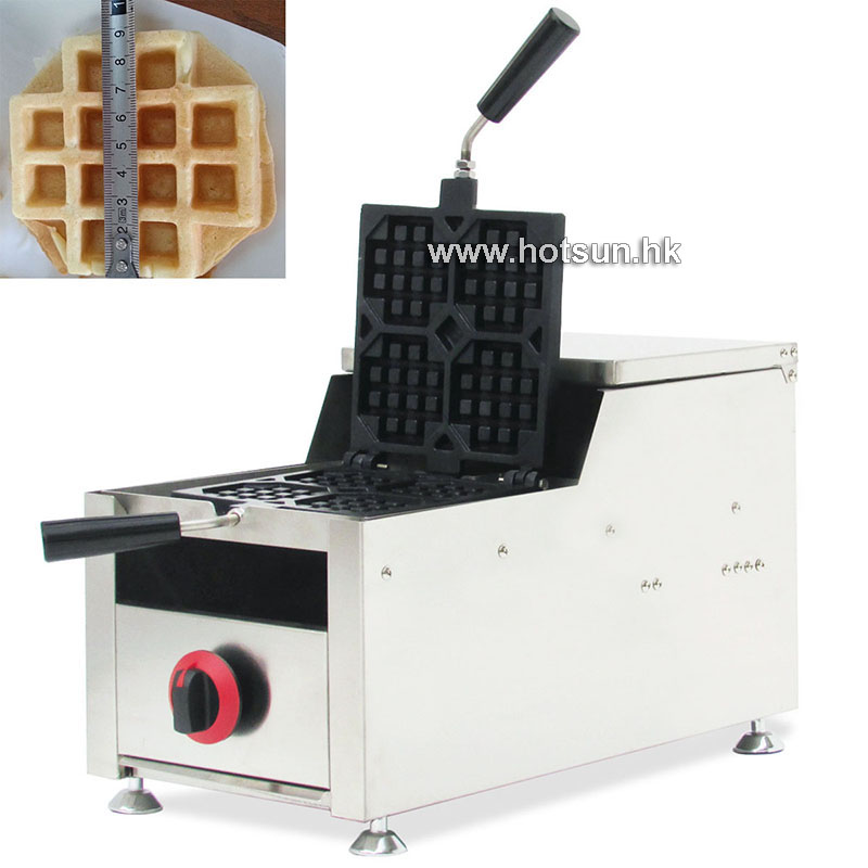Commercial Non-stick LPG Gas Rotated 4-slice Belgian Liege Waffle Iron Maker Baker Machine commercial non stick lpg gas rotated 4 slice heart shaped waffle iron maker baker machine