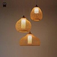 Bamboo Wicker Rattan Calabash Pendant Light Fixture Chinese Asian Meditation Hanging Ceiling Lamp Restaurant Yoga Dining Room