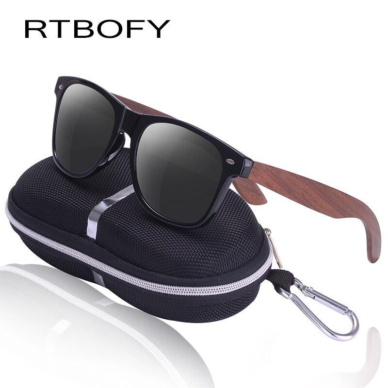 Rtbofy madera polarizadas gafas de sol para hombres y mujeres nogal ...