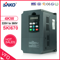 Sako 4KW VFD Input 220V 1ph to Output 380V 3ph Variable Frequency Inverter for Motor Speed Control