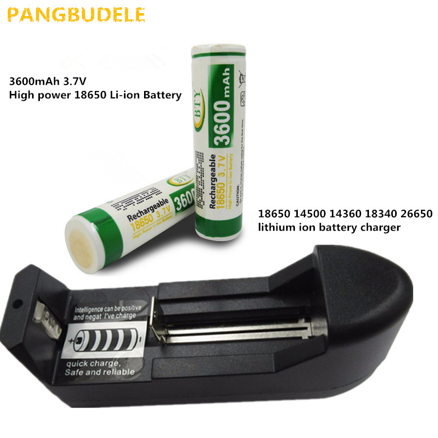 2PCS*3600mAh 3.7V High power 18650 Li-ion Battery+18650 charger, 14500 14360 18340 26650 lithium ion battery charger