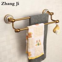 Bathroom Fixture Antique European Style Copper Towel Bars Top Grade Brass Bolt Inserting Type 36cm Double