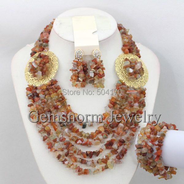 Latest Fashion Nigerian Beads Jewelry Set Rhinestone African Wedding Jewellery Set New Design Free Shipping GS757