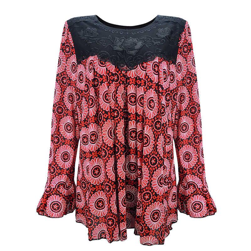 YTL, женская элегантная свободная туника размера плюс с цветочным принтом, топ, рубашка с рукавом, блузка, летняя рубашка для отдыха, 6XL, 7XL, 8XL, H036
