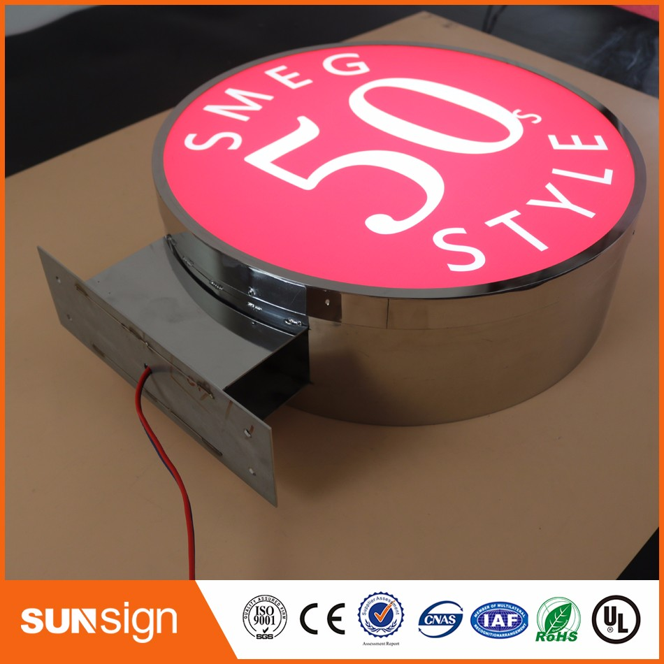 Custom Waterproof Light Up Signs Stainless Steel LED Light Box With Acrylic Surface For Outdoor Block Letter Signs