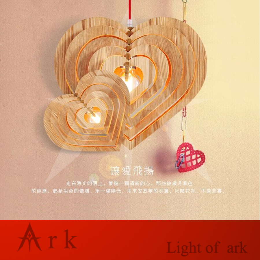 ARK LIGHT Modern lamps pendant lights Wood heart-shaped lamp restaurant bar coffee pendant lamps dining room kitchen drop light single head small bar of korean modern minimalist iron pendant lamps dining room pendant light the living room kitchen