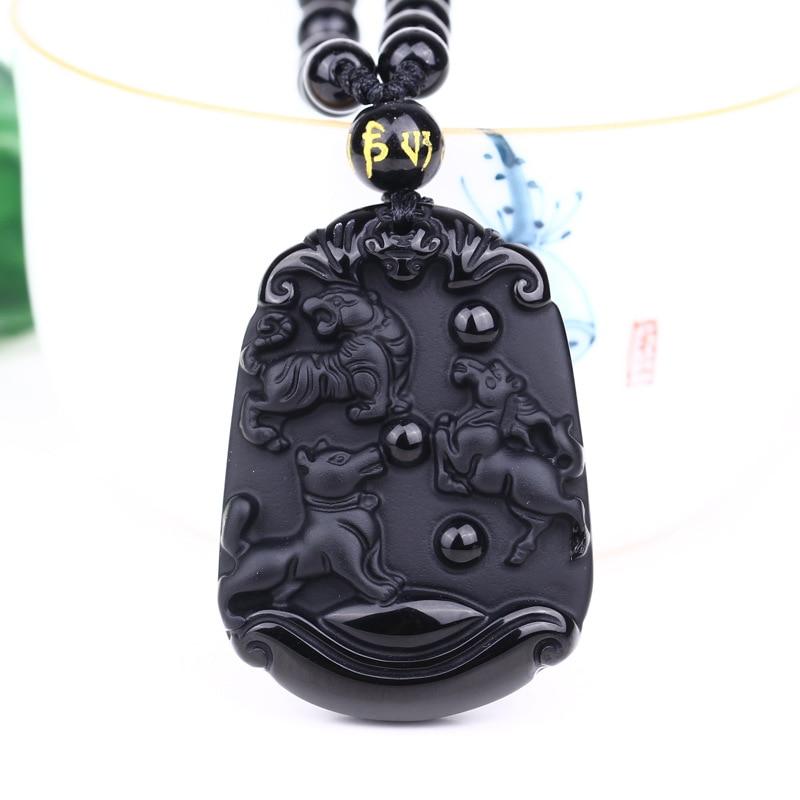 Collier obsidienne naturelle de noël gravure Seiko pendentif Patron de chien tigre halloween