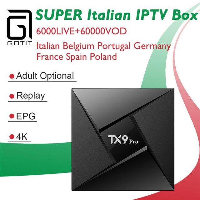 GOTIT Italy IPTV Box TX9 Pro Android 7.1 3GB 32G 4K UHD+Albania Germany French Turkey UK PayTV Hotclub Channel Smart tv Box