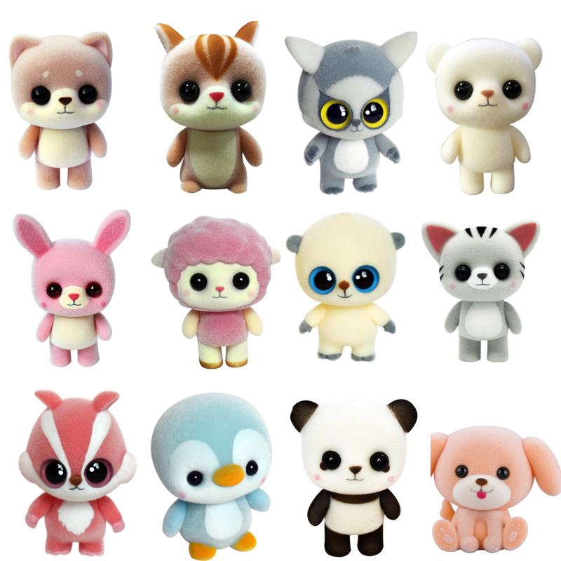 New Plastic Flocking Doll Cute Dog Duck Panda Sheep Penguin Children Plush Toy Novelty Gag Birthday Gift Toys for Kids Hobbies
