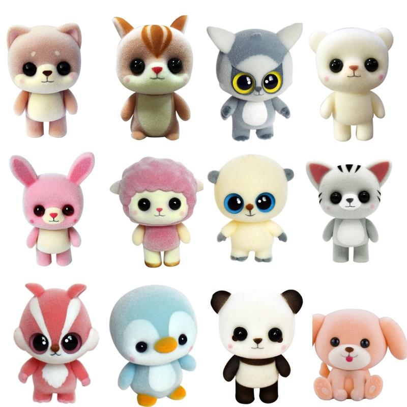 New Plastic Flocking Doll Cute Dog Duck Panda Sheep Penguin Children Plush Toy Novelty Gag Birthday Gift Toys For Kids Hobbies