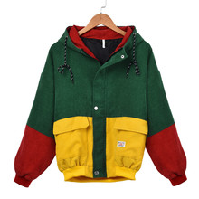 Feitong Harajuku стильная женская зимняя теплая цветная Вельветовая куртка с капюшоном и длинным рукавом, Лоскутная куртка на молнии