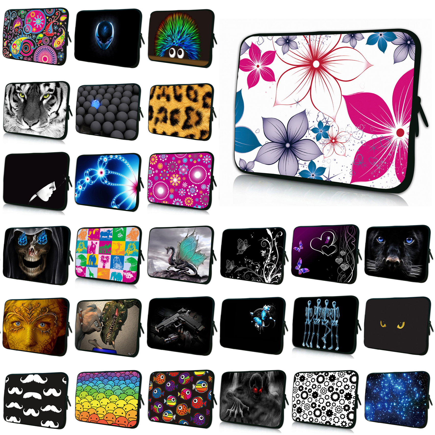 Elegant Flower 13 Notebook Neoprene Liner Sleeve Case Laptops Pouch Cover Bags For Women 12.9 13.3 Tablet Protector Shell Bag