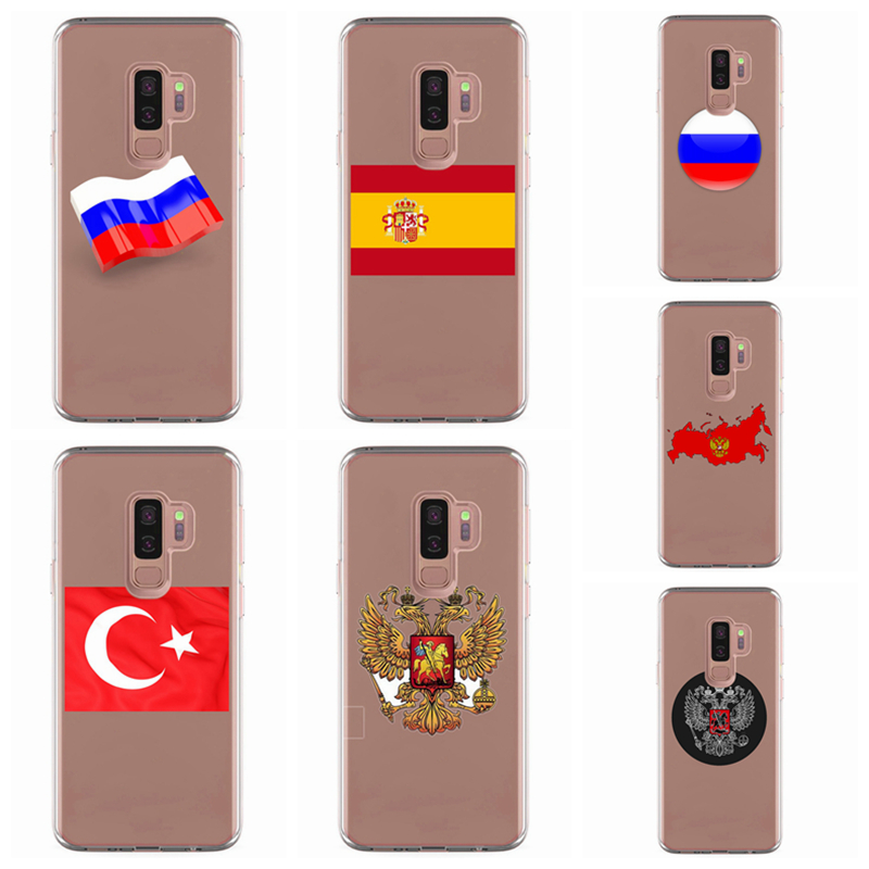For Samsung Galaxy S3 S9 S9Plus S8 S8 Plus S7 S7 edge Note 8 TPU Colorful Soft Russia Flag Painted Design Cover Case Fundas <font><b>R308</b></font> image