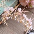 High Quality Gold Tiara Headbands Pink Feather Brides Crown Headpiece Wedding Hair Accessories