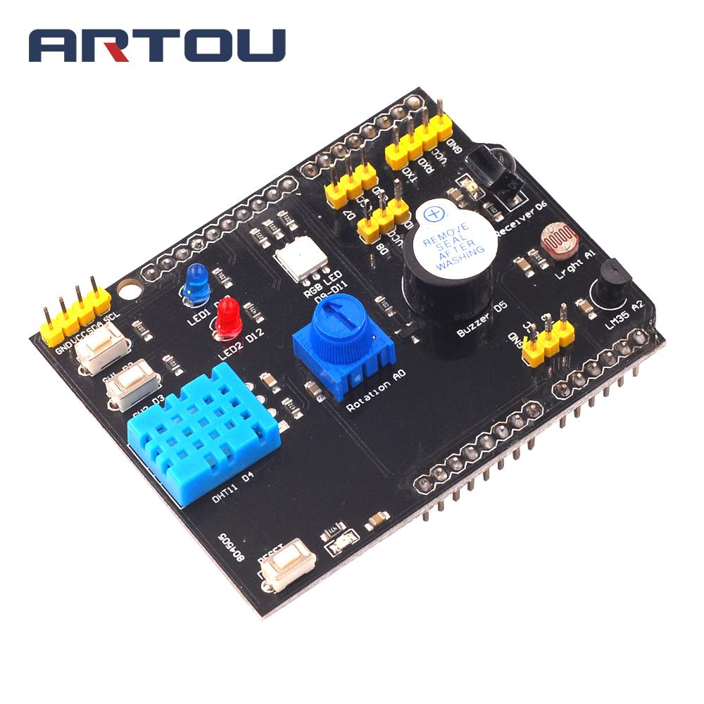 DHT11 <font><b>LM35</b></font> Temperature Humidity Sensor Multifunction Expansion Board Adapter For Arduino RGB LED IR Receiver Buzzer I2C image