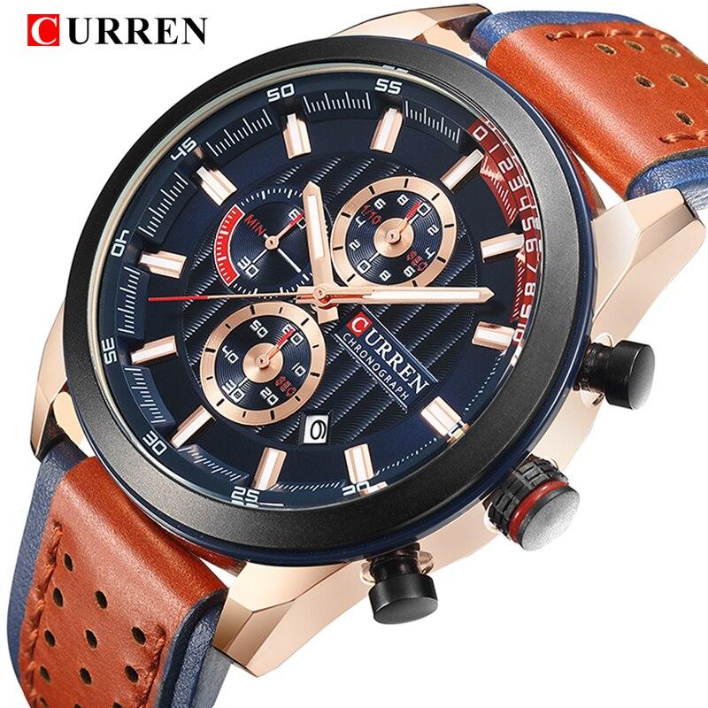 все цены на CURREN Top Brand Luxury Watch Men Date display Leather Creative Quartz Wrist Watches Fashion Sport Male Clock Relogio Masculino