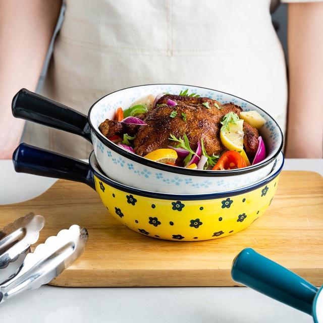 MDZF balaythome bol de cuisson en céramique avec poignée bol à soupe doignon français poêle à lasagnes rôtissantes ustensiles de cuisson ronds