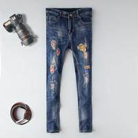 Pencil pants men jeans 2019 moto biker ripped distressed embroidery homme denim trousers plus size 38 blue slim fit jeans male