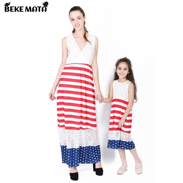 821d5e542bcc BEKE MATA Mother Daughter Dresses Summer 2018 Fashion Lace Patchwork USA  Flag Mom And Baby Girl Clothes Family Look Clotching