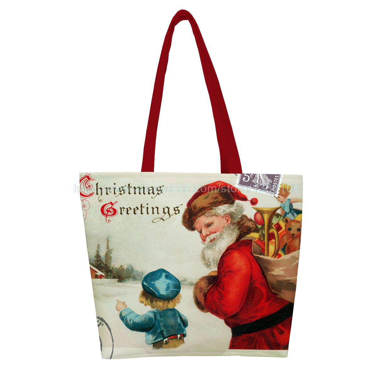 christmas style santa carrying the toys with kids print custom reusable foldable Shopping Bag nylon handbag shoulder tote bags