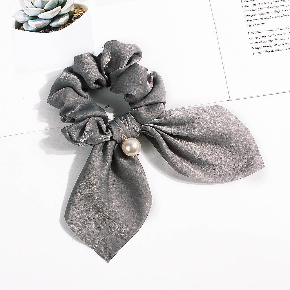 Nouveau mousseline de soie Bowknot élastique bandes de cheveux pour les femmes filles perle chouchous bandeau cheveux cravates élastique pour queue de cheval accessoires de cheveux 23