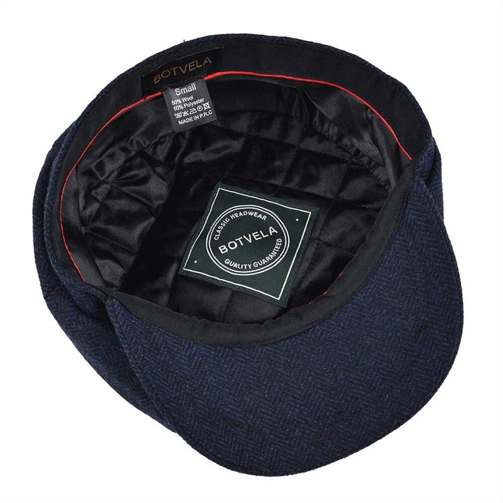 BOTVELA Wool Tweed Newsboy Cap Herringbone Men Women Gatsby Retro Hat Driver Flat Cap Black Brown Green Navy Blue 005 5