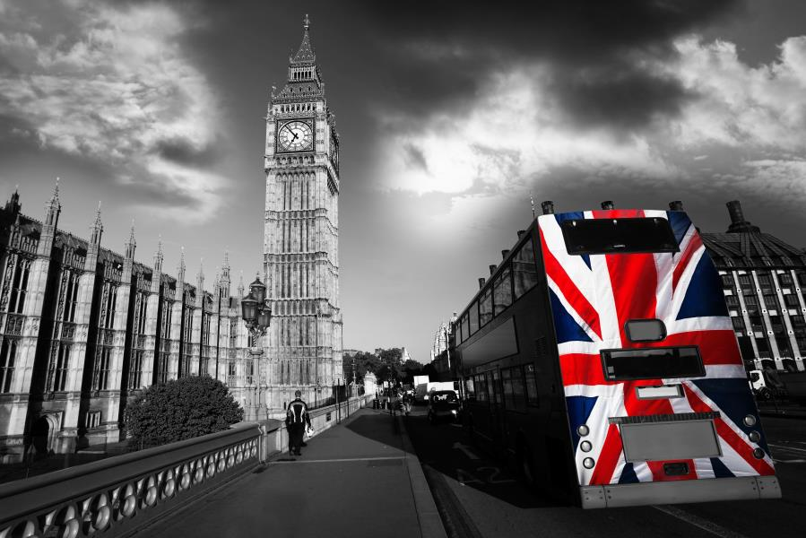 Us 68 Custom Canvas Wall Decoration Big Ben Poster London Wallpaper London Old View Wall Stickers Red Bus Mural Black And White 2488 In Wall