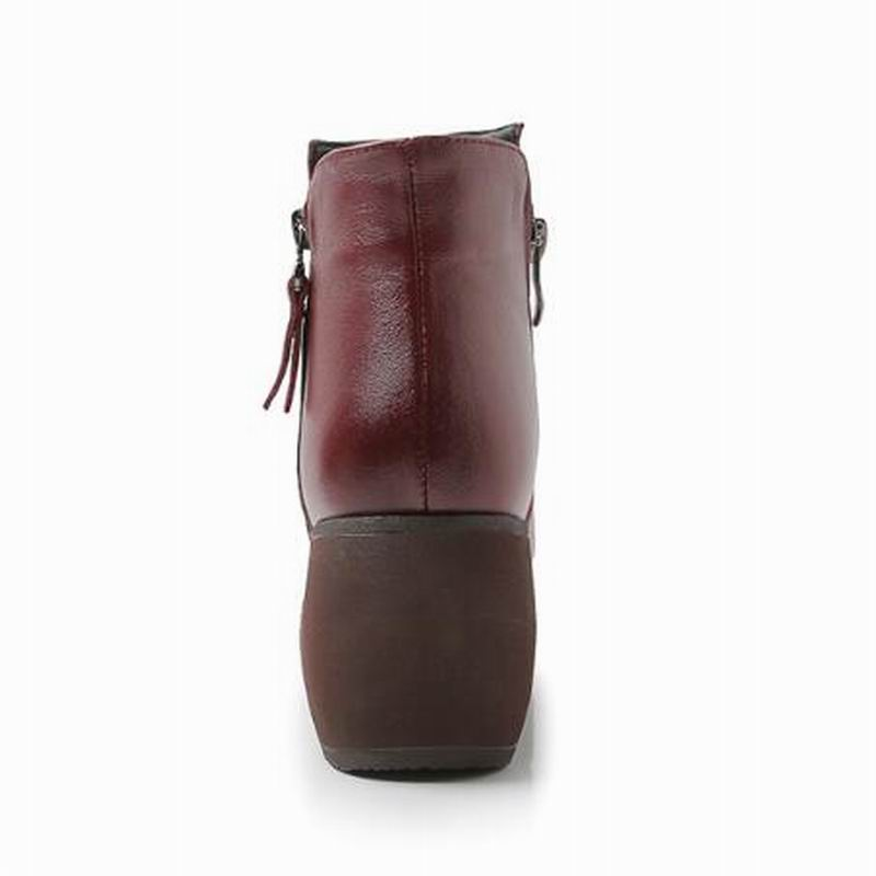 New Fashion genuine Leather Women Boots Winter Shoes Casual Moccasins Women Boots Wedges Shoes Handmade Shoes Woman Boots HY6574