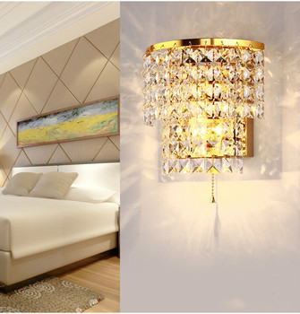 European W18 H18cm Modern Plate Steel Led Square Crystal Gold / Silver E14 Dimmable Wall Lamp Steel Rope Switch Control