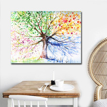 Watercolor Tree Pictures Art Cuadros Decoracion Salon Single Panel Big Size Canvas Printed Modern Oil Painting No Frame
