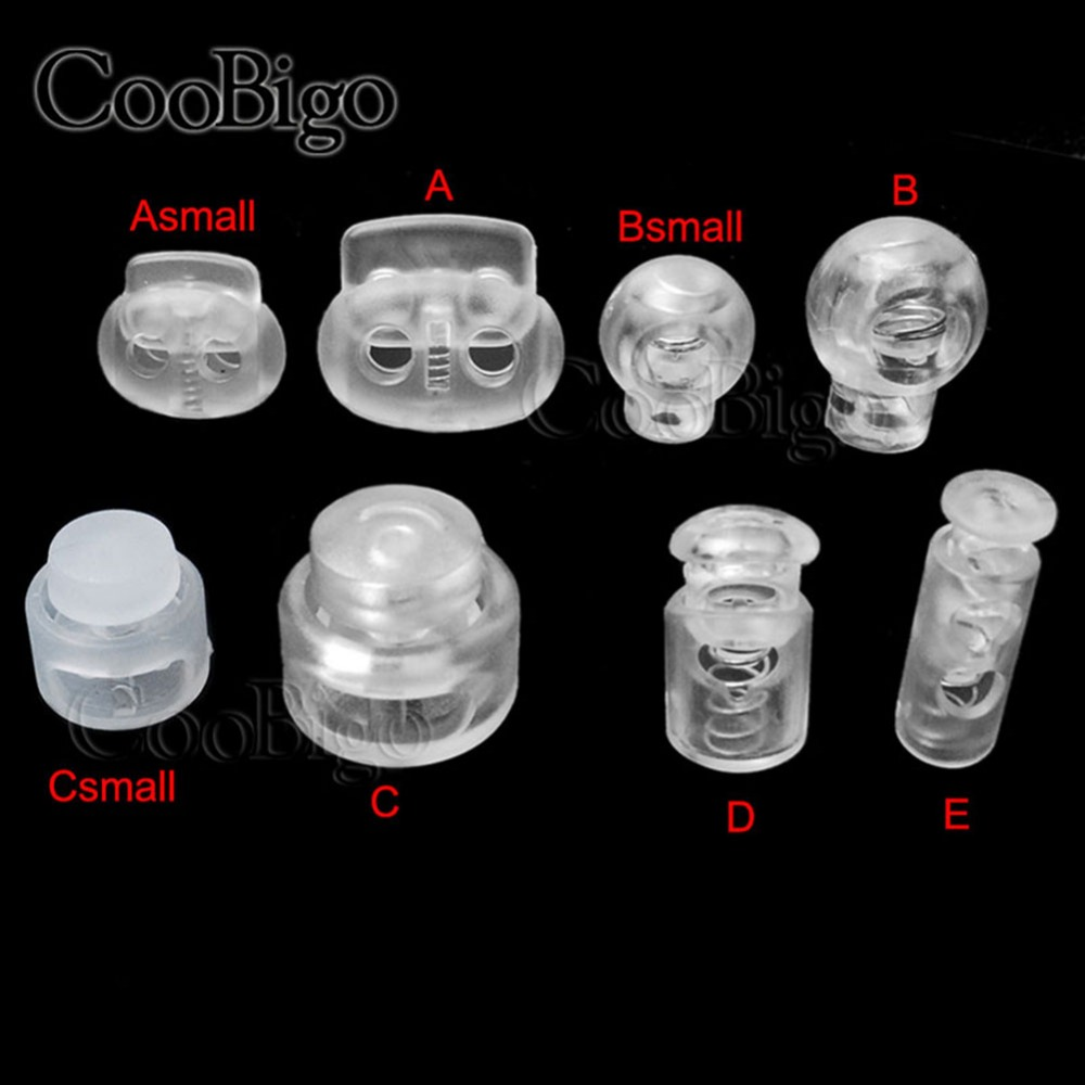 Plastic Transparent Cord Lock Ends Bean Ball Stopper Clear Toggle Clip Buckle