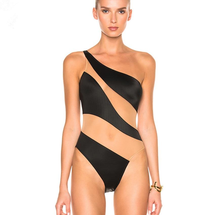 Off Shoulder Swimwear Sexy Women Swimsuit For Mesh One Piece Bathing Suit Beachwear 2018 Summer Bodysuit