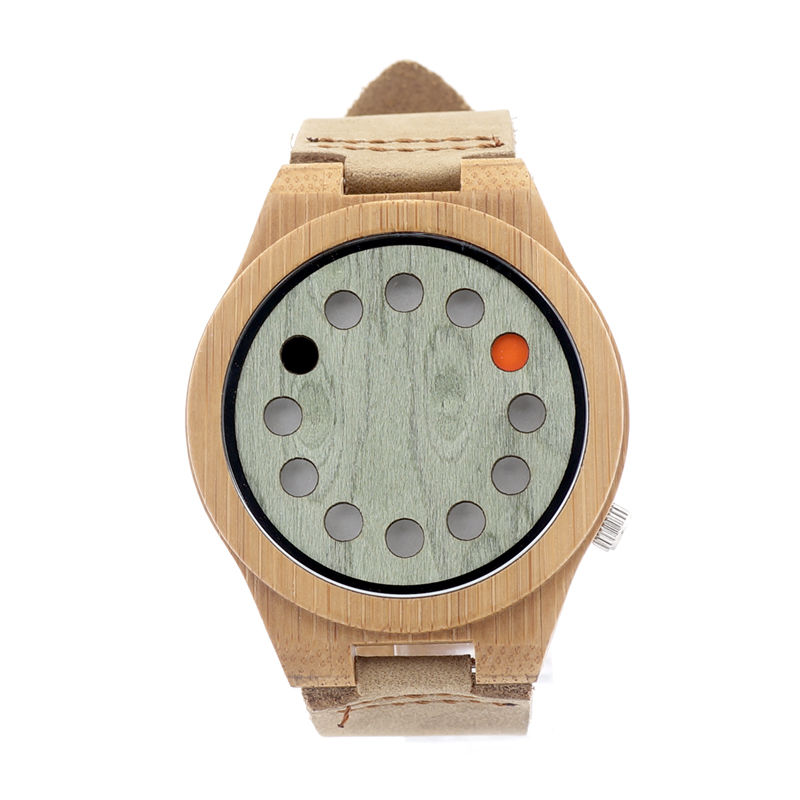 12holes Green Dial Natural Bamboo Wooden Watch Genuine Brown Leather Strap Japanese Quartz Movement Casual Watch Men Watch A03