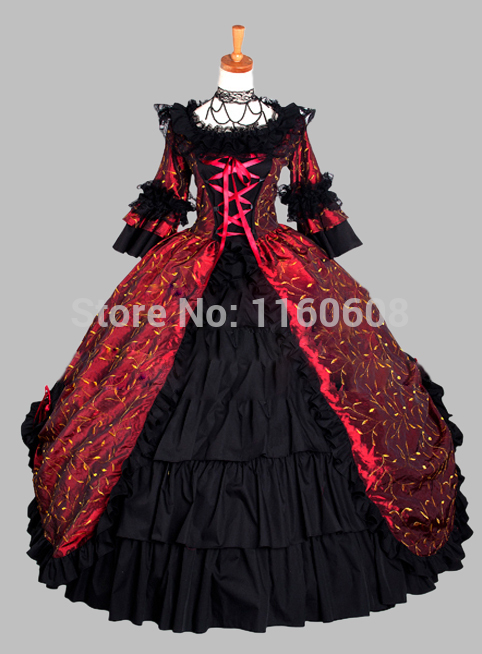 Deluxe Gothic Black and Wine Red Leaves Print Victorian Era Ball Gown Stage Costume