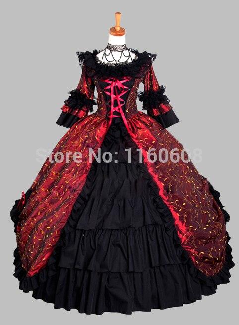 Deluxe Et Gothique L'époque Vin Bal Noir De Victorienne Robe Feuilles Scène Rouge Costume Impression rr8dwaEqS