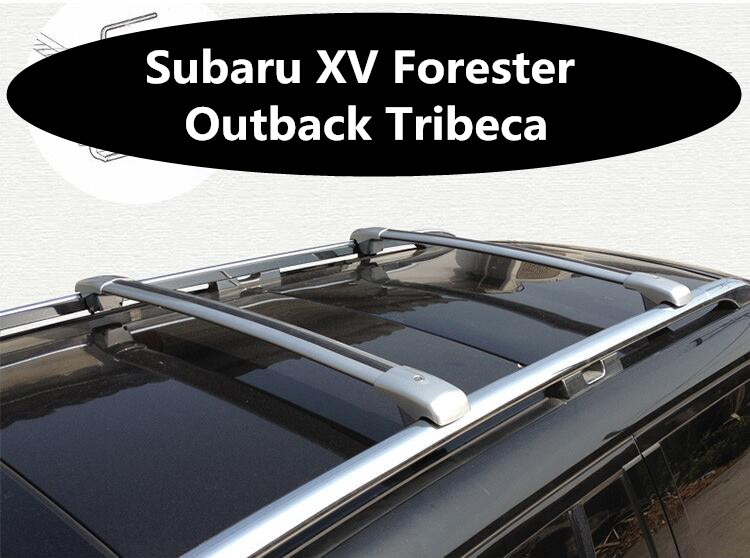 Car Aluminum Roof Rack Rail Baggage Luggage Cross Bar For Subaru XV  Forester Outback Tribeca (With Lock) (Silver Black)