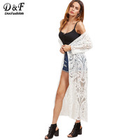 Dotfashion Women Blouses White Embroidered Sexy Mesh Longline Kimono Long Sleeve Beach Clothing 2017 Fashion Open